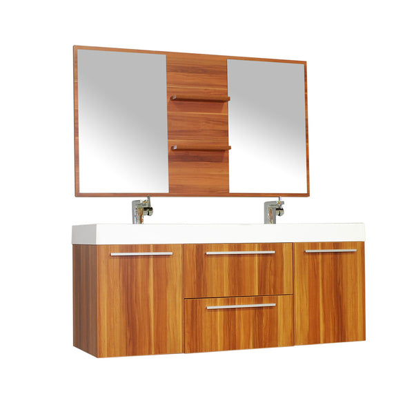"Ripley 54"" Double Wall Mount Modern Bathroom Vanity in Cherry without Mirror"