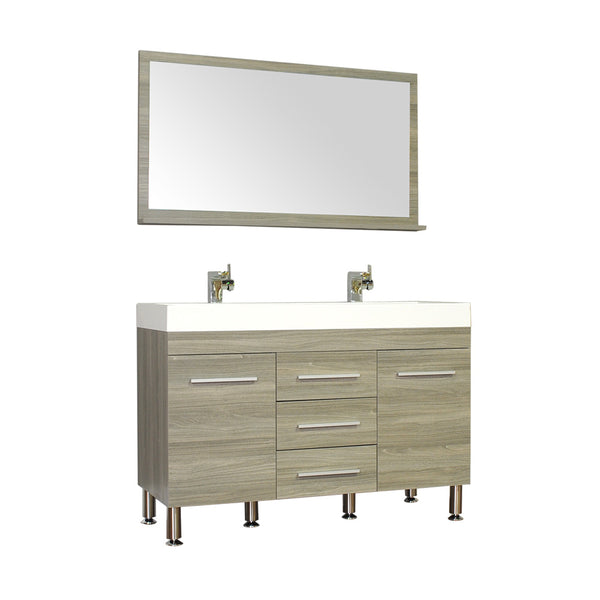 "Ripley 48"" Double Modern Bathroom Vanity in Gray without Mirror"