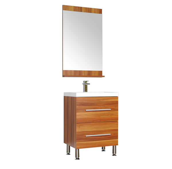 "Ripley 24"" Single Modern Bathroom Vanity Set in Cherry with Mirror"