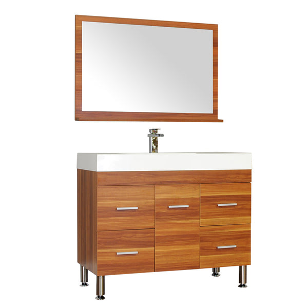 "Ripley 39"" Single Modern Bathroom Vanity Set in Cherry with Mirror"