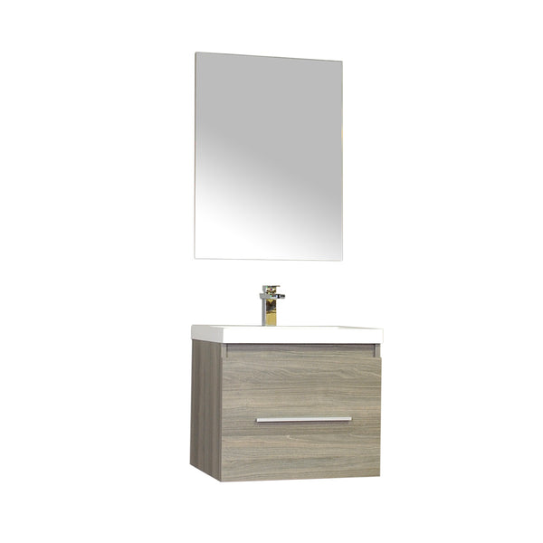 "Ripley 24"" Single Wall Mount Modern Bathroom Vanity in Gray without Mirror"