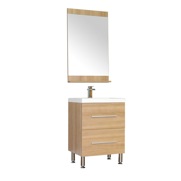 "Ripley 24"" Single Modern Bathroom Vanity Set in Light Oak with Mirror"