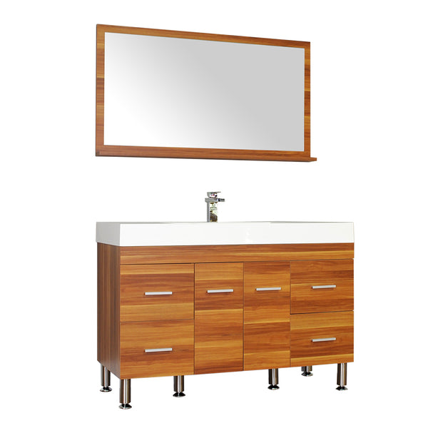 "Ripley 47"" Single Modern Bathroom Vanity Set in Cherry with Mirror"