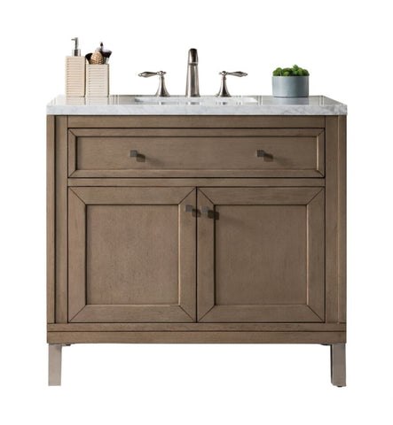 "Chicago 36"" Single Vanity, White Washed Walnut"