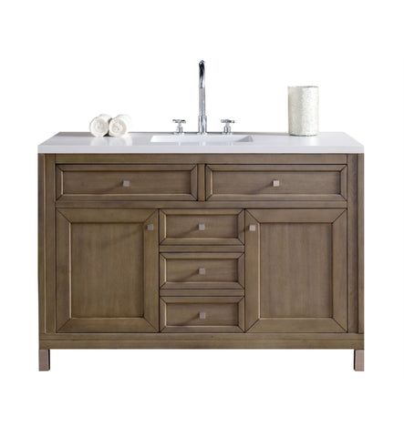 "Chicago 48"" Single Vanity, White Washed Walnut"