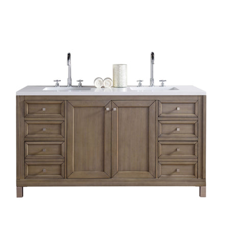 "Chicago 60"" Double Vanity, White Washed Walnut"