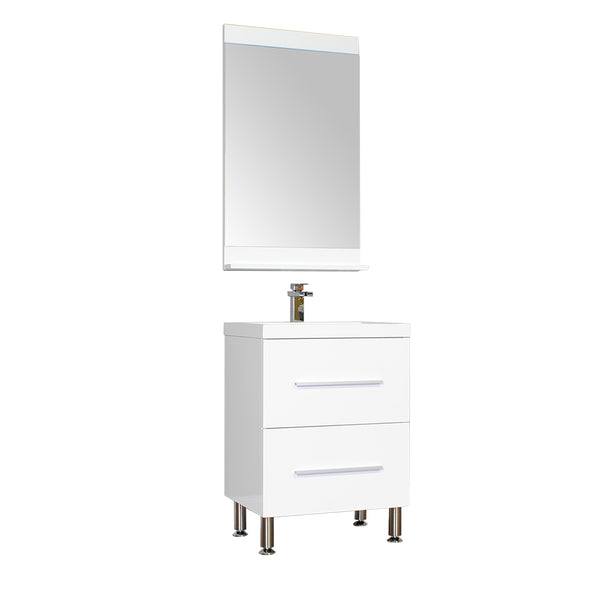 "Ripley 24"" Single Modern Bathroom Vanity in White without Mirror"