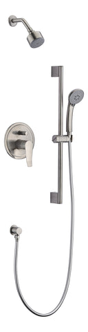 Dawn? Everglades Series Shower Combo Set Wall Mounted Showerhead with Slide bar handheld shower, Brushed Nickel