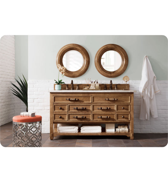 "Malibu 60"" Double Vanity Cabinet, Honey Alder"