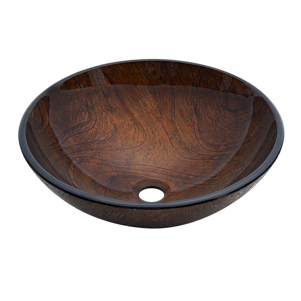 Dawn? Tempered glass, hand-painted glass vessel sink-round shape, brown