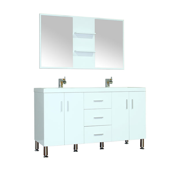 "Ripley 56"" Double Modern Bathroom Vanity Wavy Sink Set in White with Mirror"