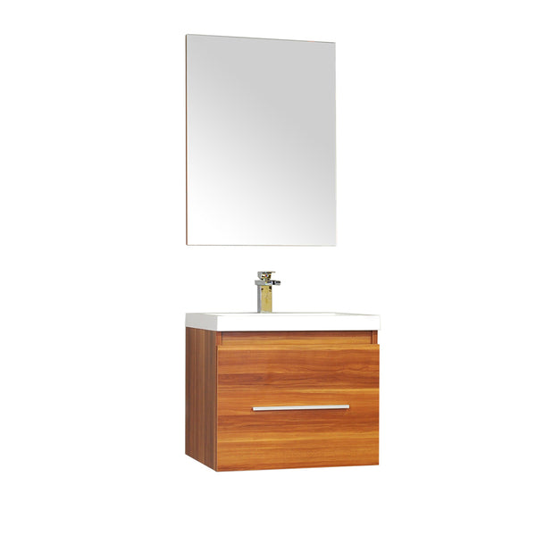 "Ripley 24"" Single Wall Mount Modern Bathroom Vanity Set in Cherry with Mirror"