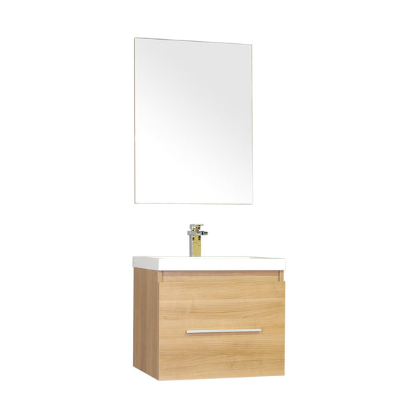 "Ripley 24"" Single Wall Mount Modern Bathroom Vanity Set in Light Oak with Mirror"