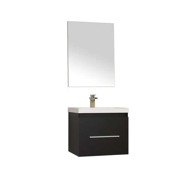 "Ripley 24"" Single Wall Mount Modern Bathroom Vanity in Black without Mirror"
