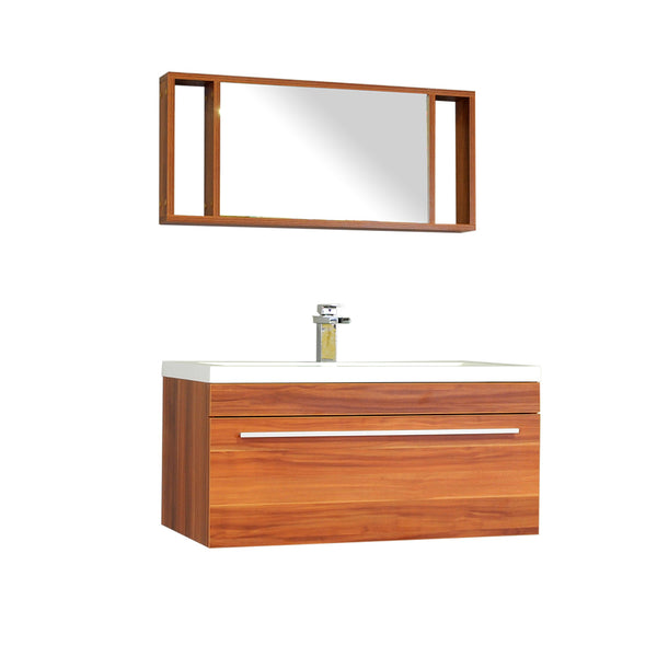 "Ripley 36"" Single Wall Mount Modern Bathroom Vanity in Cherry without Mirror"