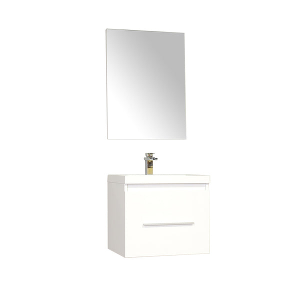 "Ripley 24"" Single Wall Mount Modern Bathroom Vanity Set in White with Mirror"