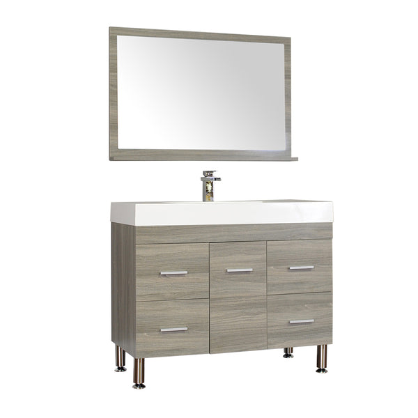 "Ripley 39"" Single Modern Bathroom Vanity Set in Gray with Mirror"