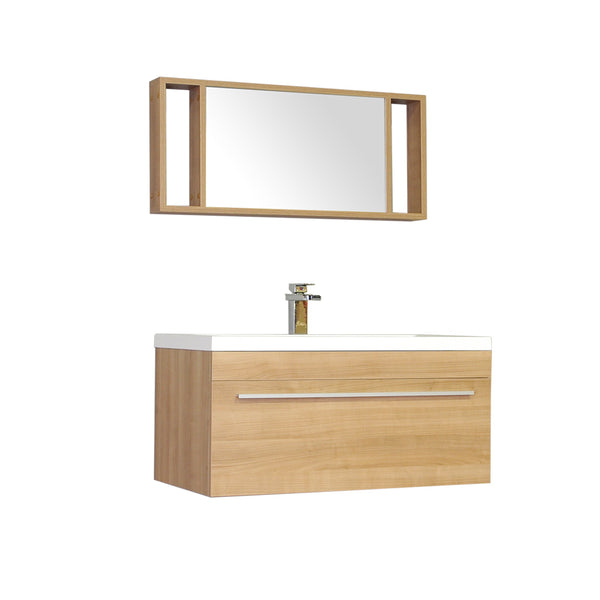"Ripley 36"" Single Wall Mount Modern Bathroom Vanity Set in Light Oak with Mirror"