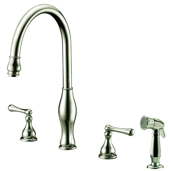 Dawn? 3-Hole, 2-handle widespread kitchen faucet with side spray, Brushed Nickel