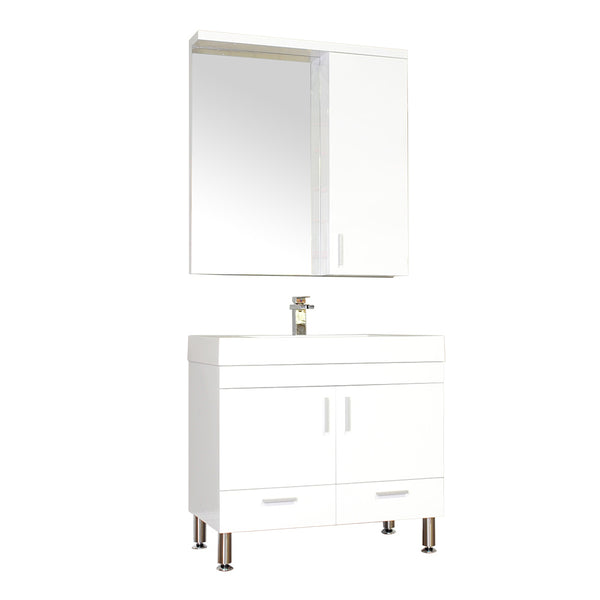 "Ripley 36"" Single Modern Bathroom Vanity in White without Mirror"