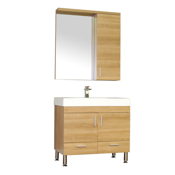 "Ripley 36"" Single Modern Bathroom Vanity in Light Oak without Mirror"
