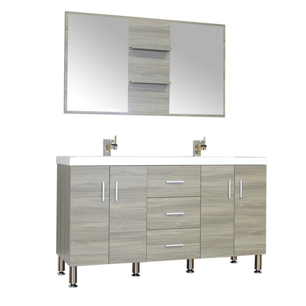 "Ripley 56"" Double Modern Bathroom Vanity Wavy Sink Set in Gray with Mirror"