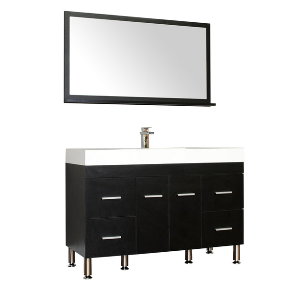 "Ripley 47"" Single Modern Bathroom Vanity Set in Black with Mirror"
