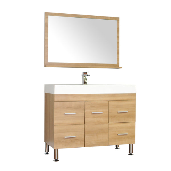 "Ripley 39"" Single Modern Bathroom Vanity in Light Oak without Mirror"
