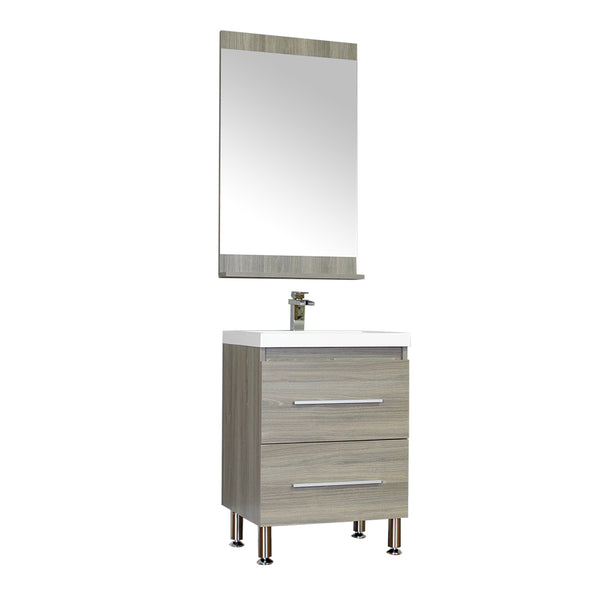 "Ripley 24"" Single Modern Bathroom Vanity in Gray without Mirror"