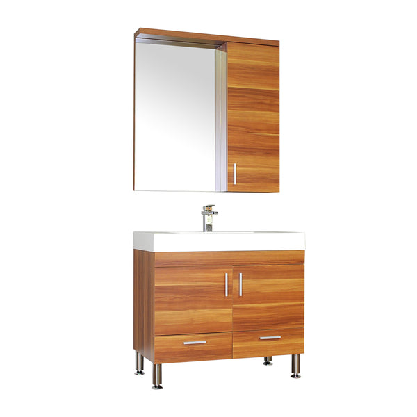 "Ripley 36"" Single Modern Bathroom Vanity Set in Cherry with Mirror"