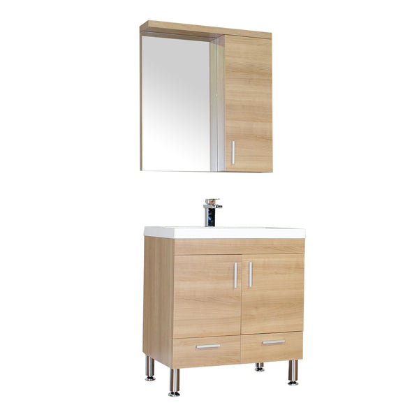 "Ripley 30"" Single Modern Bathroom Vanity in Light Oak without Mirror"