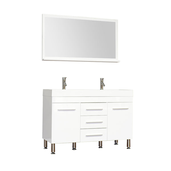 "Ripley 48"" Double Modern Bathroom Vanity Set in White with Mirror"