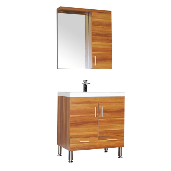 "Ripley 30"" Single Modern Bathroom Vanity in Cherry without Mirror"