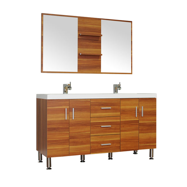 "Ripley 56"" Double Modern Bathroom Vanity Wavy Sink in Cherry without Mirror"