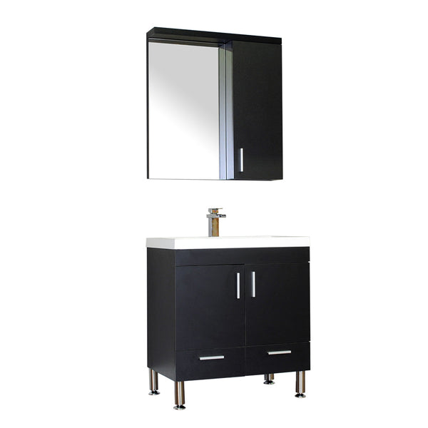 "Ripley 30"" Single Modern Bathroom Vanity in Black without Mirror"