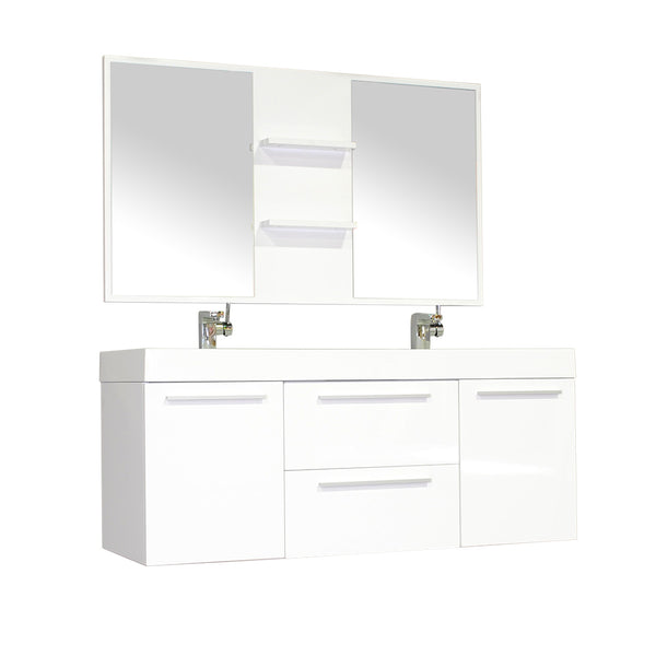 "Ripley 54"" Double Wall Mount Modern Bathroom Vanity Set in White with Mirror"