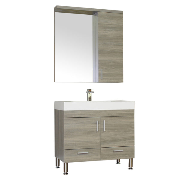 "Ripley 36"" Single Modern Bathroom Vanity Set in Gray with Mirror"