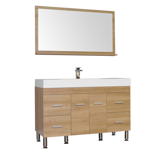 "Ripley 47"" Single Modern Bathroom Vanity Set in Light Oak with Mirror"