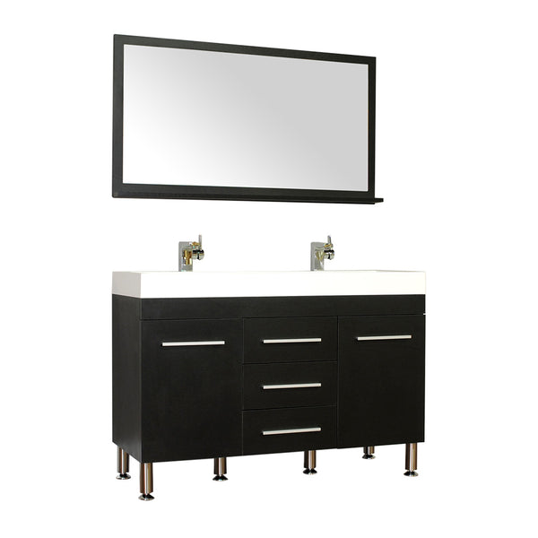 "Ripley 48"" Double Modern Bathroom Vanity in Black without Mirror"