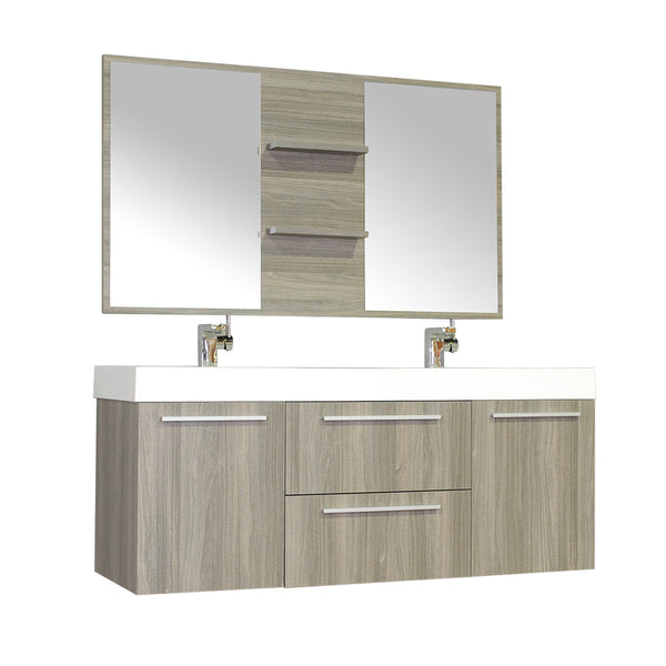 "Ripley 54"" Double Wall Mount Modern Bathroom Vanity Set in Gray with Mirror"