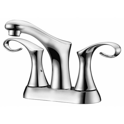 "Dawn? 2-hole, 2-handle centerset lavatory faucet for 4"" centers, Chrome (Standard pull-up drain with lift rod D90 0010C included)"