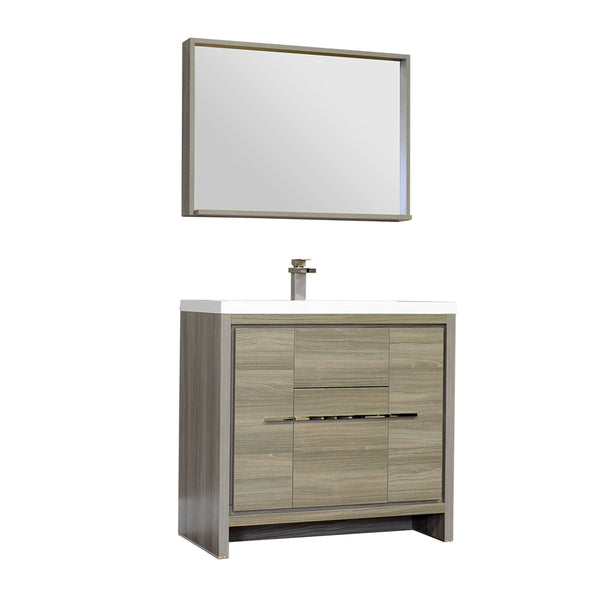 "Ripley 36"" Single Modern Bathroom Vanity Set Gray with Mirror"