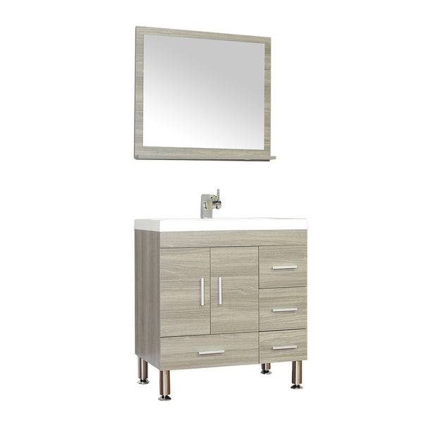 "Ripley 30"" Single Modern Bathroom Vanity Set Gray with Mirror"