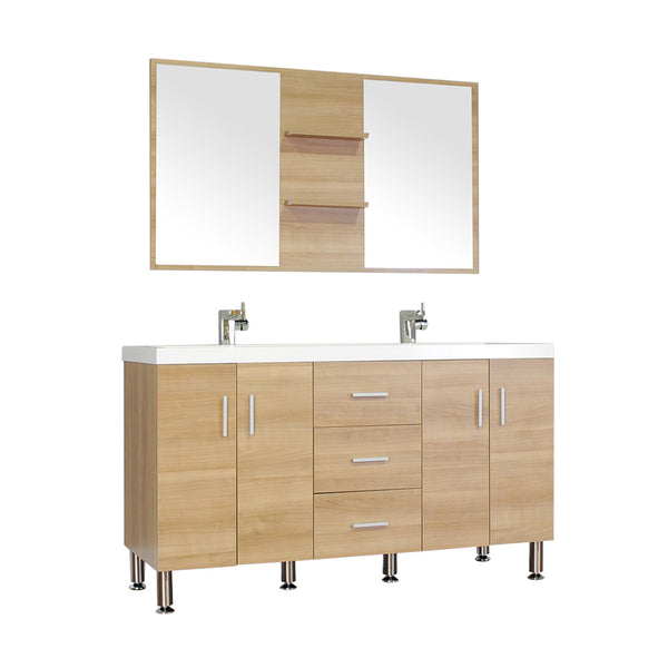 "Ripley 56"" Double Modern Bathroom Vanity Wavy Sink in Light Oak without Mirror"