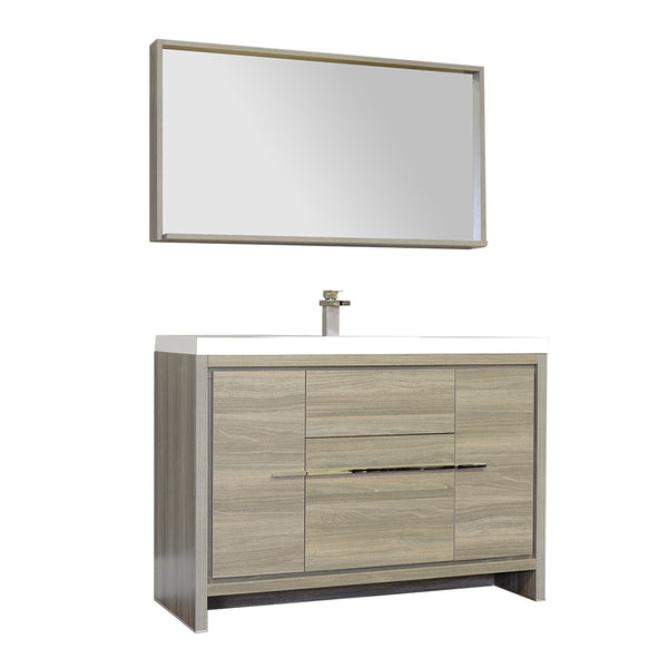 "Ripley 48"" Single Modern Bathroom Vanity in Gray without Mirror"