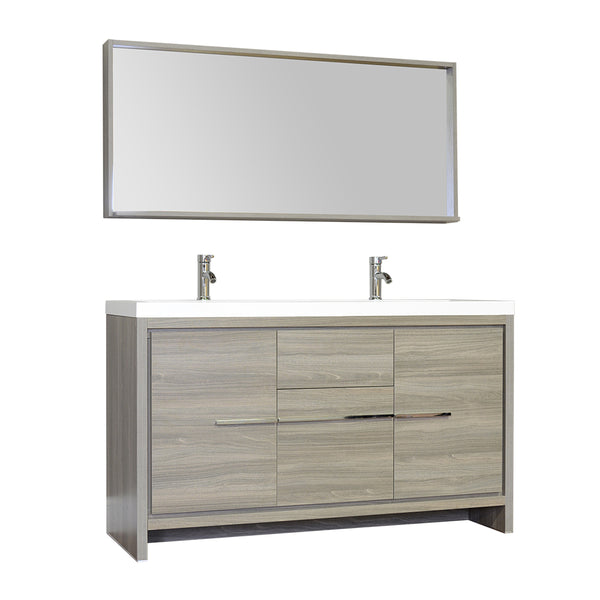 "Ripley 57"" Double Modern Bathroom Vanity in Gray without Mirror"