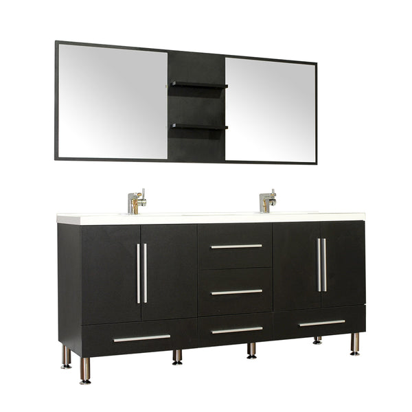 "Ripley 67"" Double Modern Bathroom Vanity in Black without Mirror"