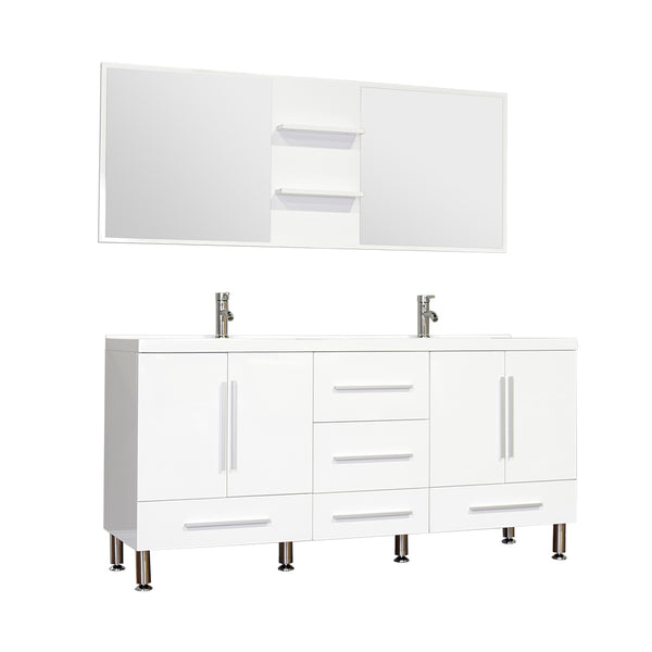 "Ripley 67"" Double Modern Bathroom Vanity in White without Mirror"