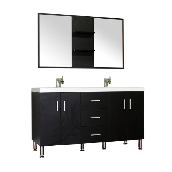 "Ripley 56"" Double Modern Bathroom Vanity Wavy Sink Set in Black with Mirror"