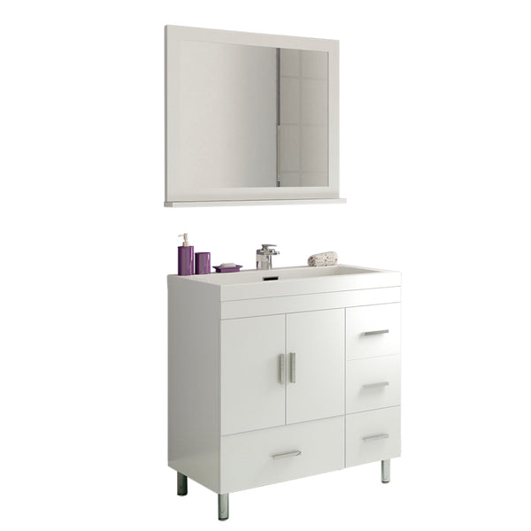 "Ripley 30"" Single Modern Bathroom Vanity WHITE without Mirror"